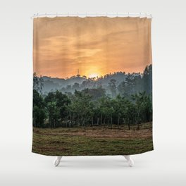 Sunset Jungle // South American Orange Sky Forest View from the Farm Valley Along the Countryside Shower Curtain