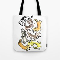 daschund Tote Bags featuring Sausage (Pup) Fest by Natelle Draws Stuff