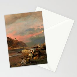 View of Ischia and Maronti Beach with Aragonese Castle by Oswald Achenbach Italian Landscape Stationery Cards