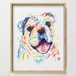 Bulldog Colorful Watercoor Pet Portrait Painting - Shelby Rue Serving Tray