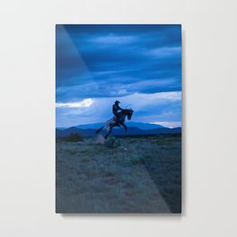 Santa Fe Cowboy Being Bucked Off Metal Print