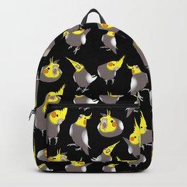 Cockatiel doodle pattern - black Backpack