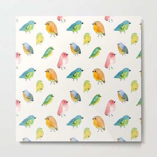 Watercolor Birds Pattern Metal Print