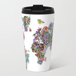 tropical floral world map Travel Mug
