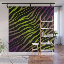 Ripped SpaceTime Stripes - Purple/Lime Wall Mural