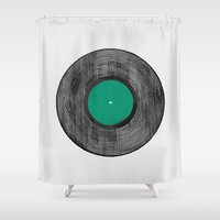 record Shower Curtains featuring Vinyl Record by EVRT Studio