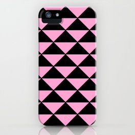 Graphic Geometric Pattern Minimal 2 Tone Infinity Triangles (Pastel Pink & Black) iPhone Case