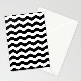 Wavy Stripes (Black/White) Stationery Cards