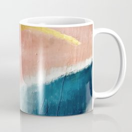 Exhale: a pretty, minimal, acrylic piece in pinks, blues, and gold Coffee Mug