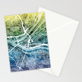 Pittsburgh Pennsylvania Street Map Stationery Cards