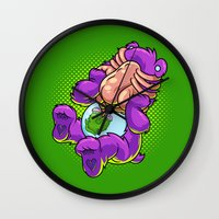 xenomorph Wall Clocks featuring Caring Hugs by Artistic Dyslexia