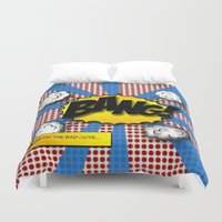 lichtenstein Duvet Covers featuring Pop Art Bang in comic Lichtenstein style by Suzanne Barber