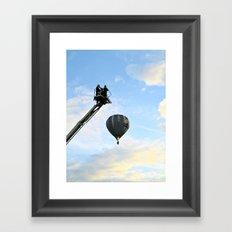 Firemen on their hoist at the Tall Ships Race Waterford 2011 Framed Art Print