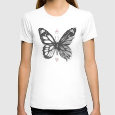 Delicate Existence SMALL Womens Fitted Tee White