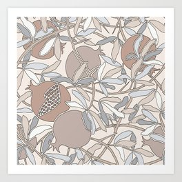 Pale Winter Hues Pomegranate Fruit Branches with Leaves Art Print