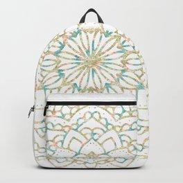 Marble Mandala Sea Shimmer Gold + Turquoise Backpack