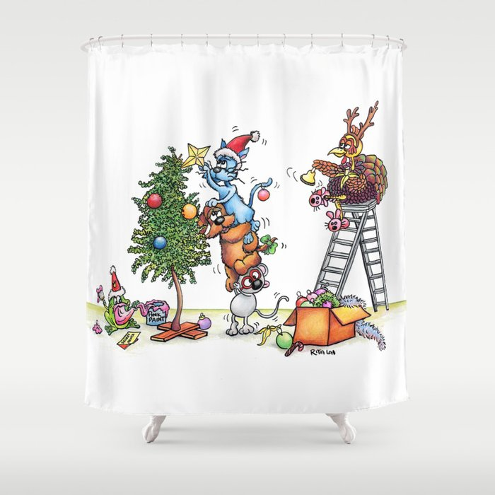 Christmas Decorating Shower Curtain by ritalai