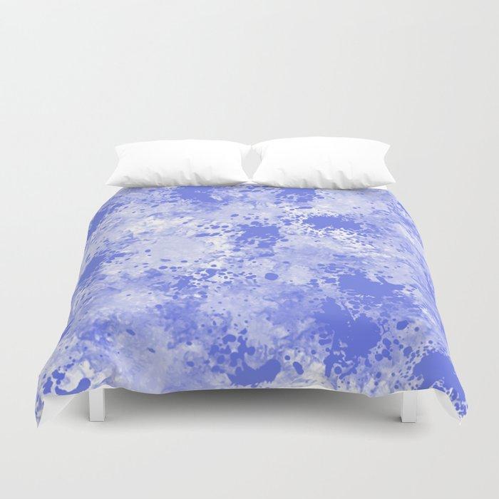 Blue Watercolor Paint Splatter Abstract Duvet Cover