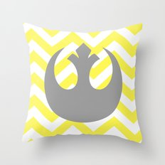 Gray Rebel Over Yellow Chevrons Throw Pillow