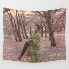 Geisha among Cherry Blossom trees Wall Tapestry
