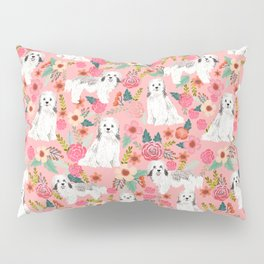Havanese Floral - dog, dogs, cute dog, white dog, flowers, florals, pink floral Pillow Sham