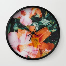 hibiscus lilly   double exposure Wall Clock