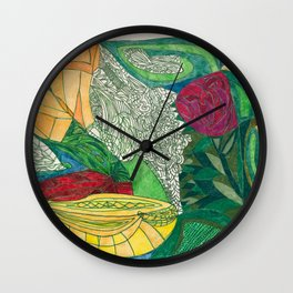 Fruit and Veggie Bowl with Rose Wall Clock