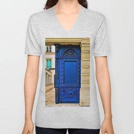 Gorgeous Midnight-Blue European Doorway Photograph Unisex V-Neck