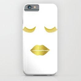 Gold Glam Face - Fashion Illustration iPhone Case