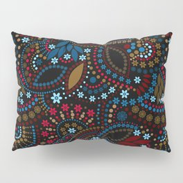 Scattering beads . Black background Country . Pillow Sham