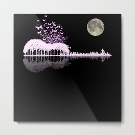 Butterfly Mirror Forest With Moon Metal Print