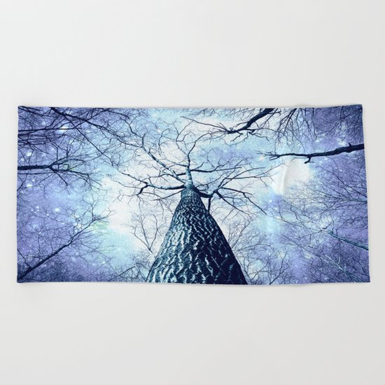 Wintry Trees Periwinkle Ice Blue Space Beach Towel