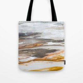 Yellowstone National Park - Thermophiles, Norris Geyser Basin, aerial view Tote Bag