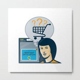 Female Internet Shopper Shopping Cart Metal Print