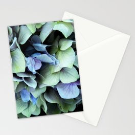 green and blue hydrangea Stationery Cards