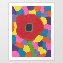 Stained Glass Poppy Art Print