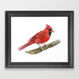 Red Cardinal Watercolor Framed Art Print