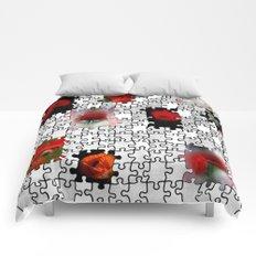 poppy love in puzzle design Comforters