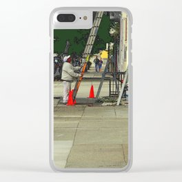 Caution Times Three Ladders Clear iPhone Case