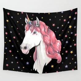 Pink hair unicorn Wall Tapestry