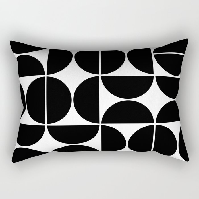 Mid Century Modern Geometric 04 Black Rectangular Pillow