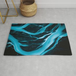Minimalistic and Moody Glacial Rivers in Iceland – Aerial Landscape Photography Rug