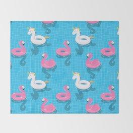 Pool Party flamingo, unicorn Throw Blanket