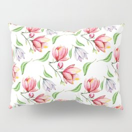 Elegant modern hand painted pink lilac watercolor magnolia floral Pillow Sham