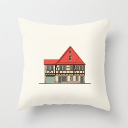 Half-timbered house with red roof Throw Pillow