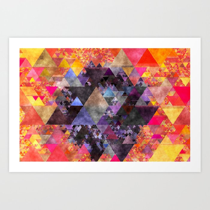 Fire red blue yellow  triangle pattern - Watercolor illustration Art Print