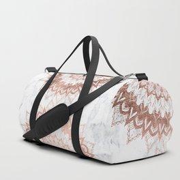 Modern chic rose gold floral mandala illustration on trendy white marble Duffle Bag