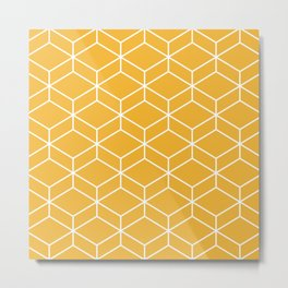 Geometric Honeycomb Lattice 2 in White and Mustard Yellow Metal Print