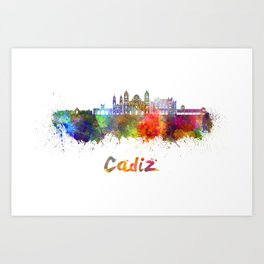 Cadiz skyline in watercolor Art Print