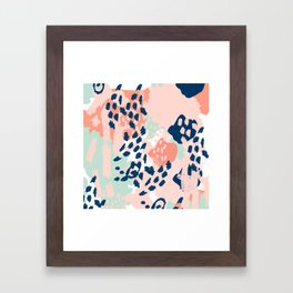 Kala - abstract painting minimal coral mint navy color palette boho hipster decor nursery Framed Art Print